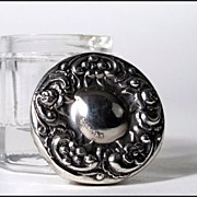 Miniature Powder Jar with Sterling Repousse Top - Doll Size