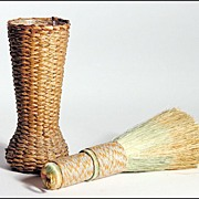 Early 20th C Native American Passamaquoddy Vanity Brush with Holder