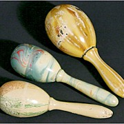 Three Painted Marbleized Darning Eggs