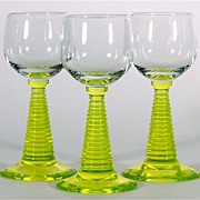 "Trio of Bohemian ""Roemer"" Glasses or Rummers with Uranium Glass or 'Vaseline' Stems"