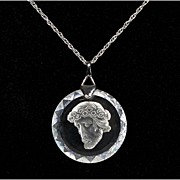 Crystal Intaglio Pendant with Sterling Silver Chain - Jesus with Crown of Thorns