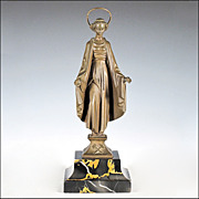 Saint Barbara Patron Saint of Miners - Bronze on Marble Base