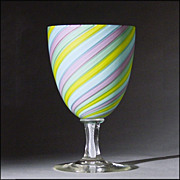 Pretty, Pretty Hand Blown Goblet w/ Latticino Stem & Candy Twist Stripes
