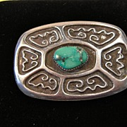 REDUCED Early Tufa Cast sterling Belt Buckle With a Beautiful polished Turquoise Stone circa .