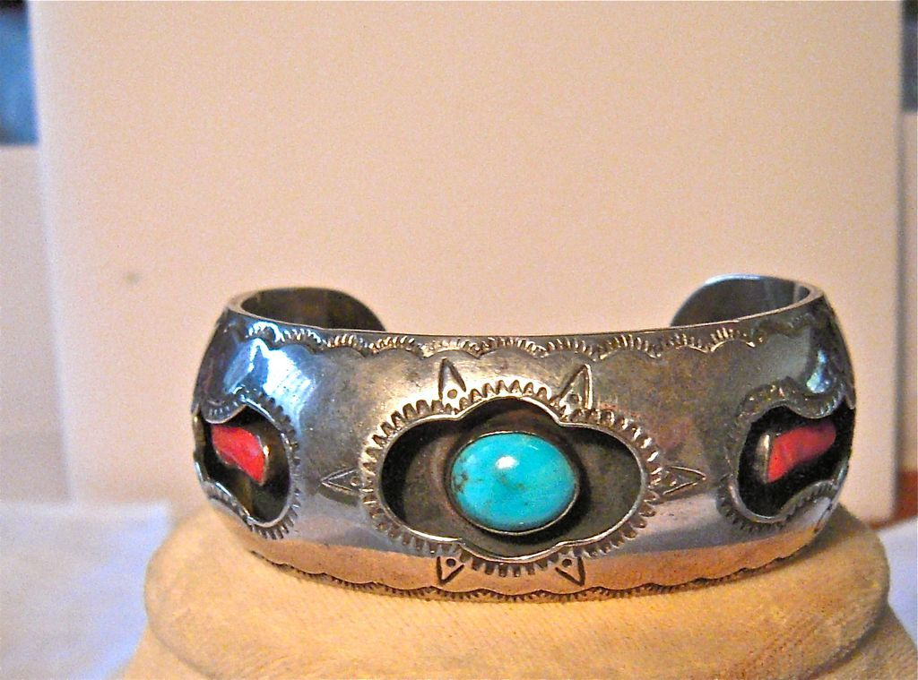 Lovely turquoise & coral shadow box setting, sterling silver bracelet, Native American pre 1980's