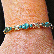 Gem Blue Zircon and diamond bracelet in 14 karat Rose Gold, circa 1930-50's