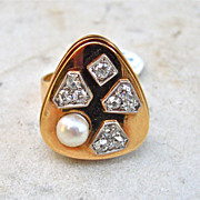 REDUCED Estate 14 karat yellow gold , Diamond and Pearl Ring circa 1960-80's