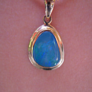 14 Karat Boulder Green Blue Opal Pendant with 18 inch 14 karat wonderful Chain