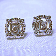14 Karat white gold and Diamond open work earrings, 1950-60's