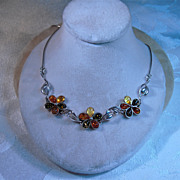 Sterling 3 color Amber Necklace Floral Motif