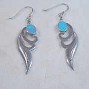 Sterling silver and turquoise Earrings 1990's