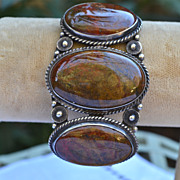 Early Vintage Native American Petrified Wood 3 Medallion Bracelet 1940-60's