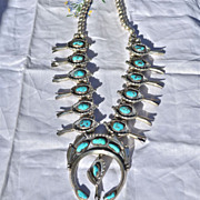 Native American Squash Blossom Necklace of Morenci Turquoise and sterling 1970's