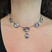 1930-40's Retro Sterling Amethyst 7 Stone Necklace