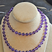 32 inch Strand of 8.8-9 mm Gem Amethyst Bead Necklace