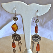 Susan Brooks Long, Sterling and Amber Long 1980-90''s Earrings