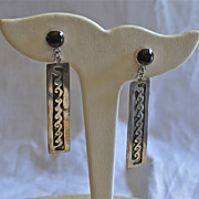 Long hand Fabricated Sterling and onyx Earrings 1980-90's