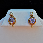 14 karat Amethyst & Pearl Earrings, 1930's screw backs