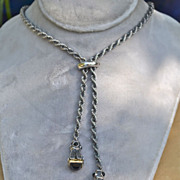 Unique Sterling Onyx double pendant Necklace with gold accents