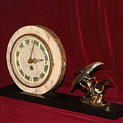 Vintage Marble Base Art Deco Clock w Birds