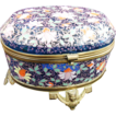 Antique Moser Oval Blue Glass Casket, Allover Enameled, Bronze  Mounts