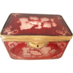 Antique Bohemian glass  Hinged box  Ruby Flashed, etched with vine designs lock closure