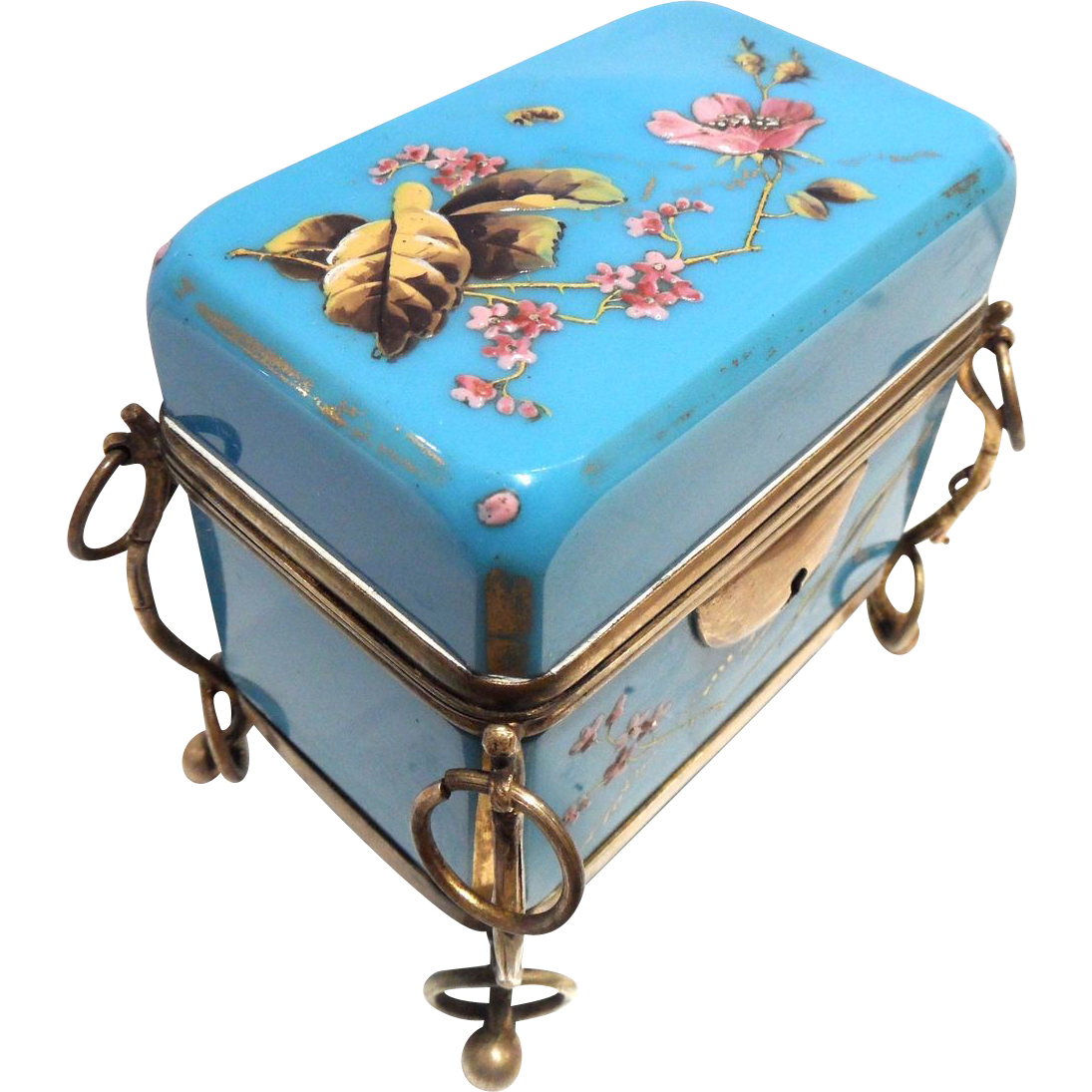 Antique Turquoise Opaline Glass Casket Box hnd Ptd, w/Key