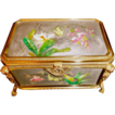 Antique Platinum colored porcelain Box, exceptional Bronze mounts Hnd. Ptd
