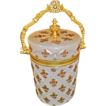 French white Opaline Glass box  Carved crisscross design with starburst top.  Gilded Bronze mounts and Handle