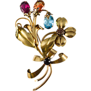 Gorgeous Sterling 12K gold plated Flower Brooch