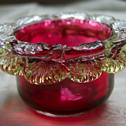 Cranberry Single Salt Cellar with Clear and Vaseline Rigaree