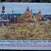 Case Threshing Machine Advertisement Postcard - Steam Engine and Steel Separator