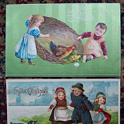 Pair of Cute Easter Cards - Set 1 - Early 1900's