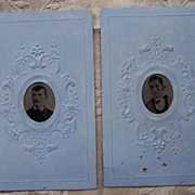Pair of Gem Tintypes on Blue Backgrounds