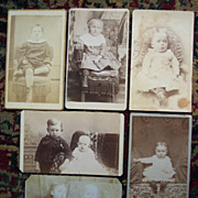 4 Children CDV's and Two Trimmed Cards