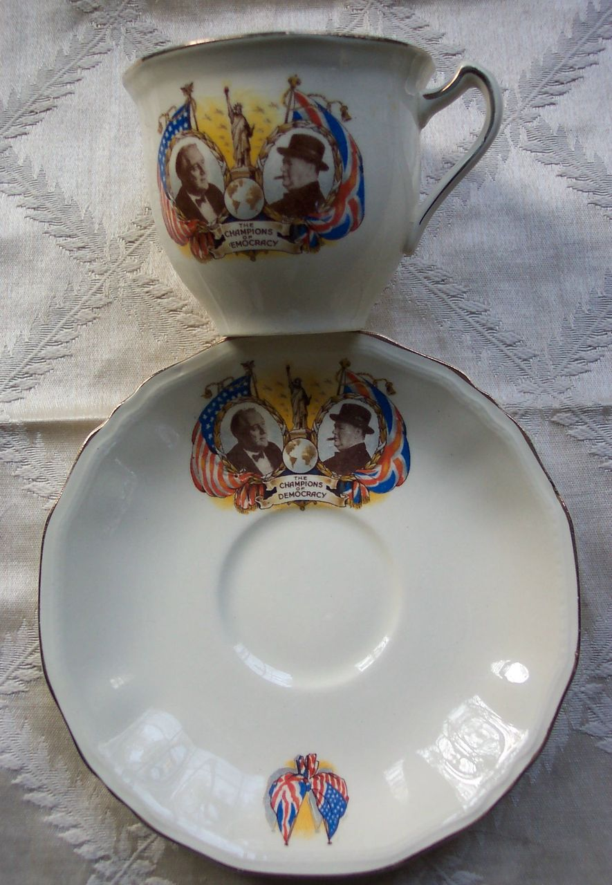 Winston Churchill and FDR Cup and Saucer