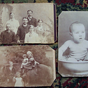 Three Trimmed Carte De Viste Cards of Family, and Baby