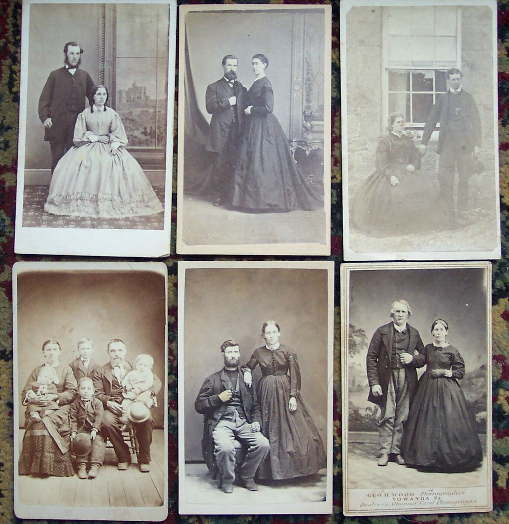 Set of Six Carte De Visite Cards of Couples