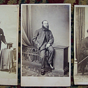 Three CDV Cards of Men with Canes