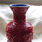 7 Inch Chinese Cinnabar Vase with Stand - Old