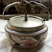 Ceramic Sweetmeat Jar with Silverplated Top and Handle