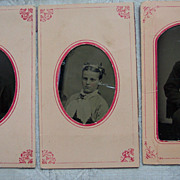 Set of Three Cardboard Framed Tintypes - Same Family