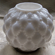 Tufted Milk Glass Miniature Oil Lamp Ball Shade with Ring