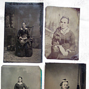 Set of Five Tintypes with Women - 1/6 Plate