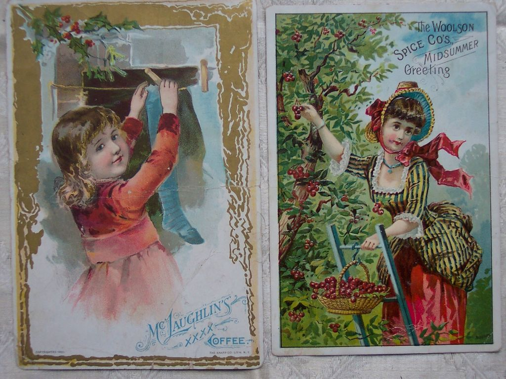 Woolson Spice (Lion Coffee) and McLaughlin Coffee Large Trade Cards