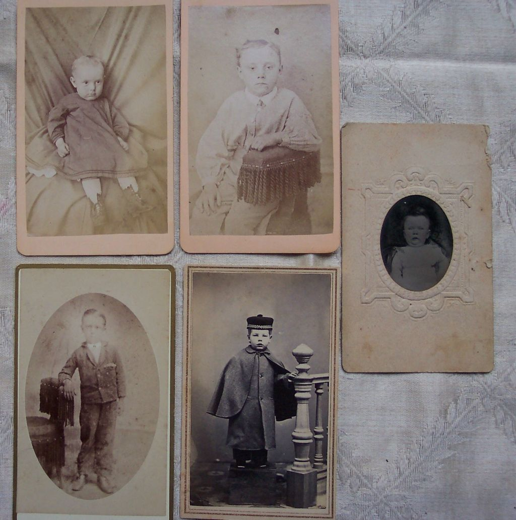 Set of Four CDV Cards of Children with Bonus TinType of Baby