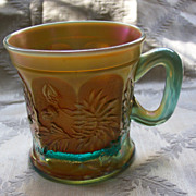 Northwood Aqua Carnival Glass Dandelion Mug - Rare Color