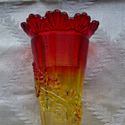 Northwood Fluted Scroll with Vine Vase -Two Toned