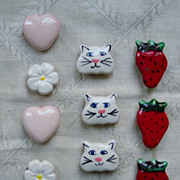 Set of 10 Ceramic Vintage Button Covers
