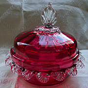 Blown Cranberry Glass Butter Dish with Clear Rigaree